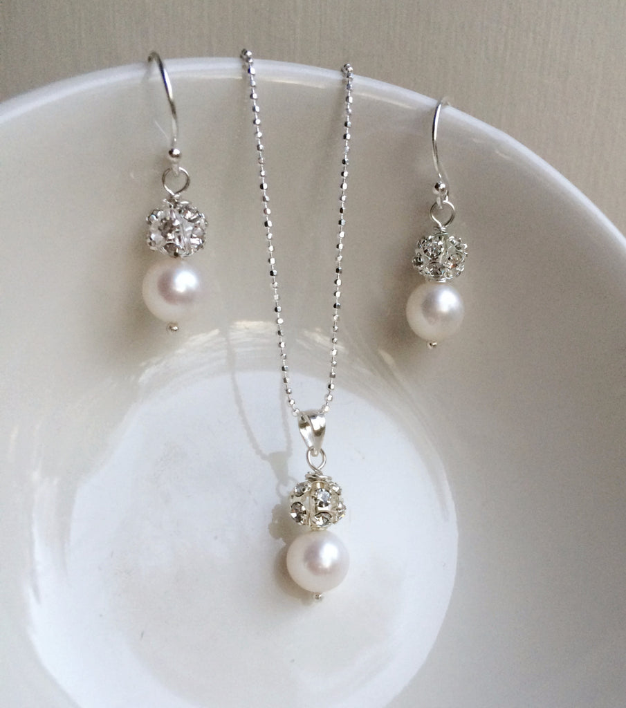 "FRESHWATER PEARL AND DIAMANTE BRIDAL JEWELLERY SET ""SNOWDROP"" FROM SHEROCKSBRIDALJEWELLERY"