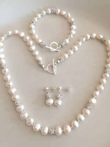 "FRESHWATER PEARL & DIAMANTE BRIDAL JEWELLERY SET ""SNOWFLAKE"""