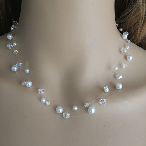 "HANDMADE SWAROVSKI CRYSTAL AND PEARL 3 STRAND ILLUSION NECKLACE ""SNOWKISS"""