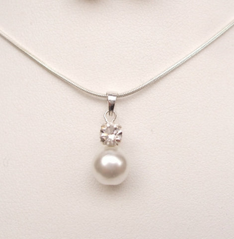 "STERLING SILVER PEARL DROP BRIDAL NECKLACE ""SPARKLY PEARLS"""
