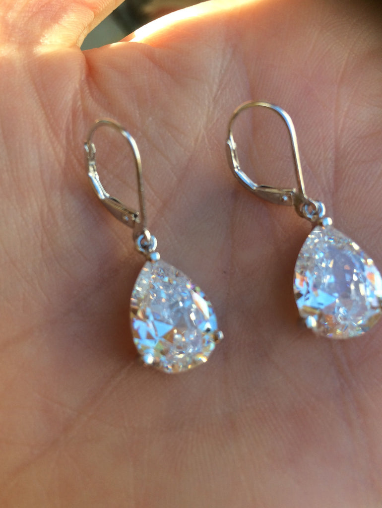 "cz teardrop bridal earrings on Sterling Silver leverbacks ""Kate"""