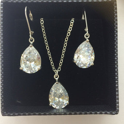 "Sterling Silver teardrop CZ bridal jewellery set ""Kate"" from sherocksbridaljewellery"