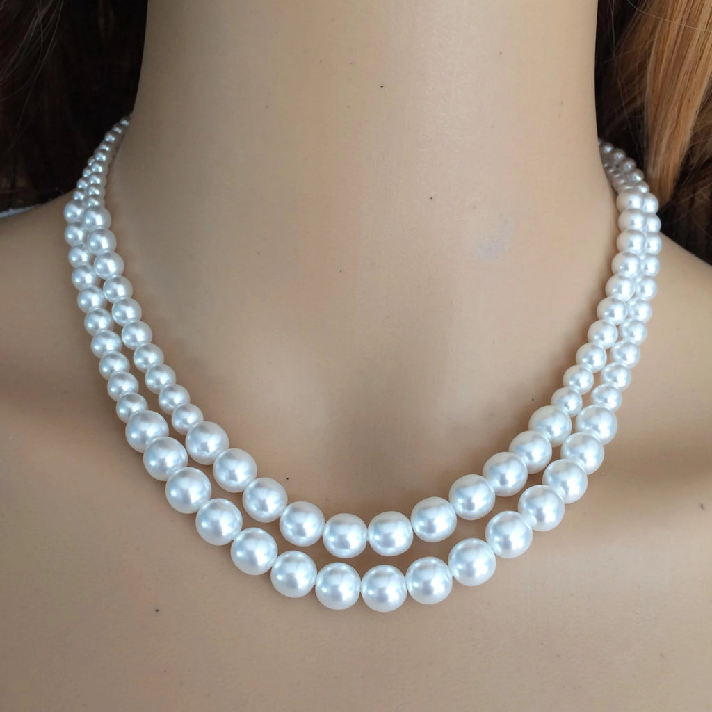 "2 STRAND VINTAGE PEARL MOTHER OF THE BRIDE NECKLACE CHOKER ""TIFFANY- small pearls"""