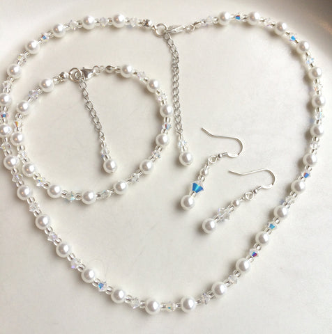 "SWAROVSKI CRYSTAL AND PEARL WEDDING JEWELLERY SET ""VANESSA"""
