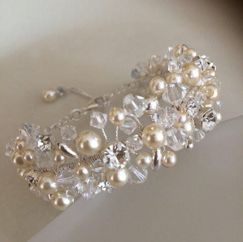 "DESIGNER SWAROVSKI CRYSTAL AND PEARL WEDDING CUFF BRACELET ""WATERFALL"""
