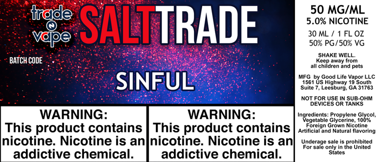 Sinful Salt Trade - Trade N Vape - Cheap vape - Trade N Vape - usa - in stock - vapor - vaping