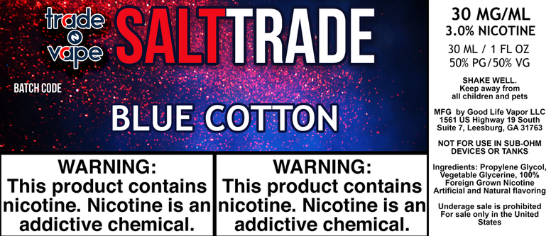 Blue Cotton Salt Trade - Trade N Vape - Cheap vape - Trade N Vape - usa - in stock - vapor - vaping