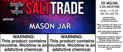 Mason Jar Salt Trade - Trade N Vape - Cheap vape - Trade N Vape - usa - in stock - vapor - vaping