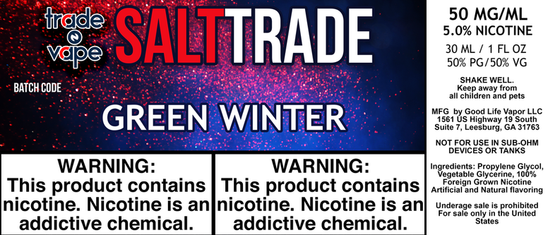 Green Winter Salt Trade - Trade N Vape - Cheap vape - Trade N Vape - usa - in stock - vapor - vaping