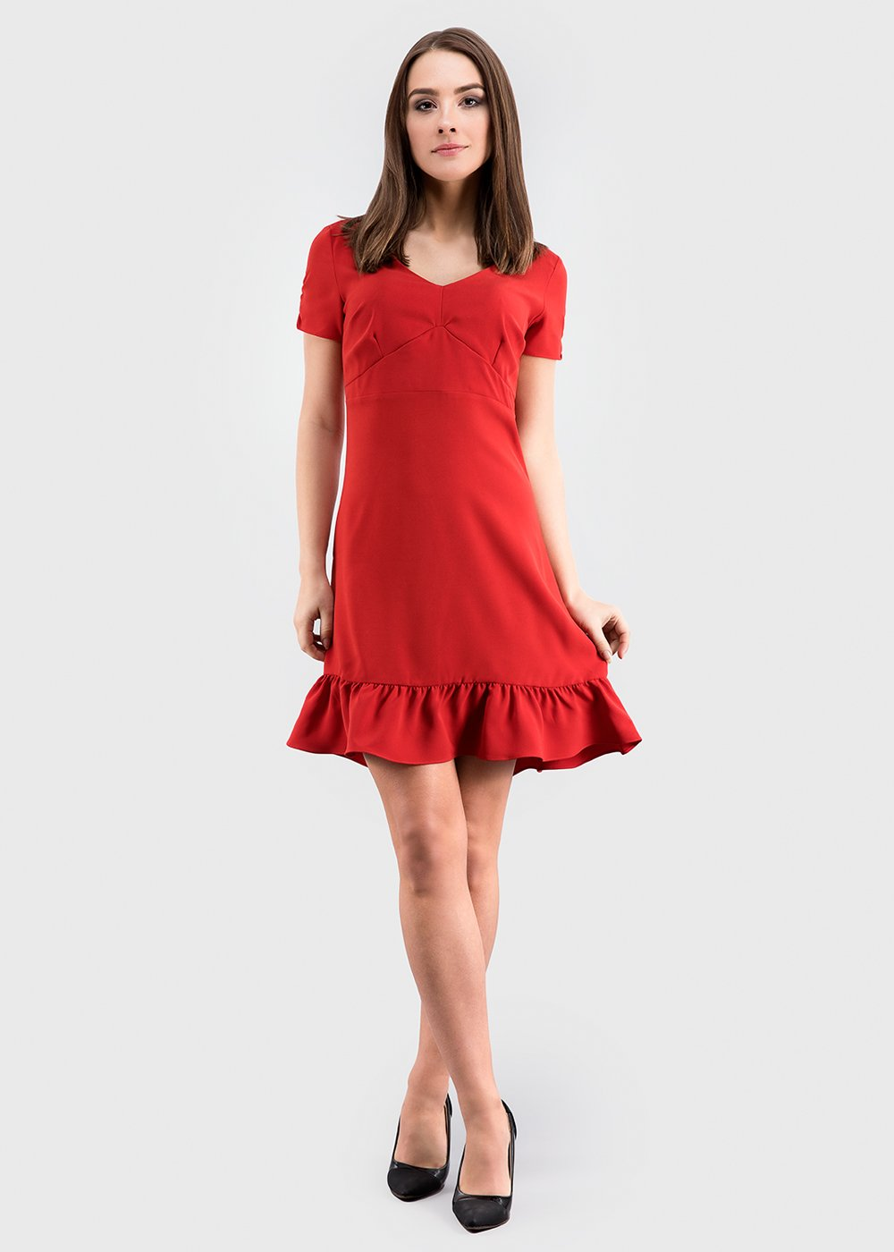 Short sleeve frill hem dress