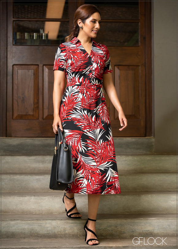 GFLOCK - [product_sku] - Women_Dresses - Fit & Flare Printed Dress