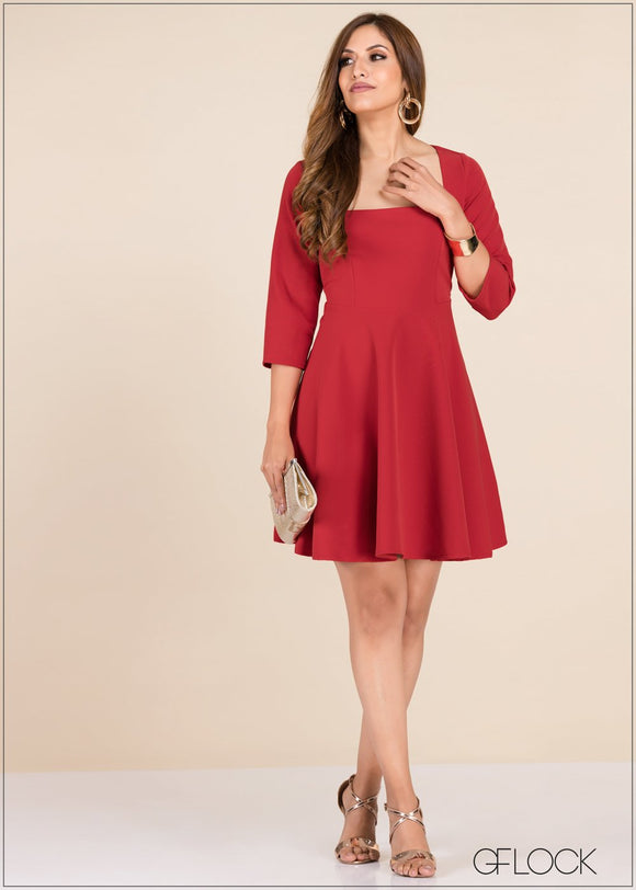 GFLOCK - [product_sku] - Women_Dresses - Square Neck Skater Dress