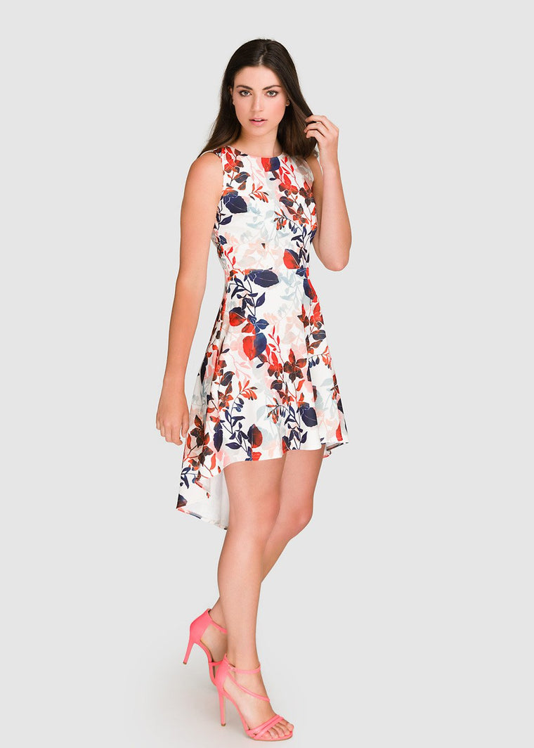 Leaf Print Tail Hem Dress