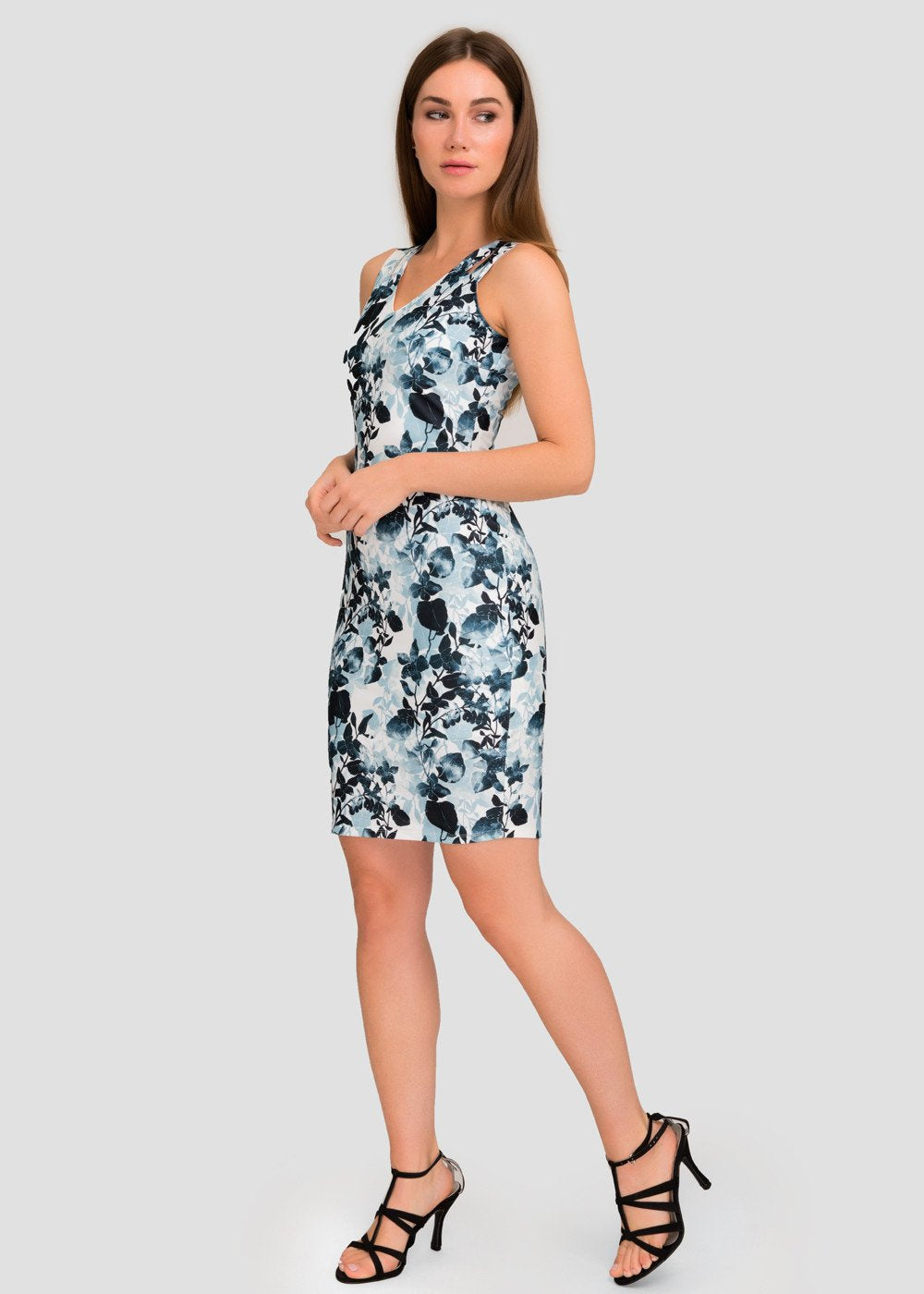 V-neck Floral Bodycon Dress