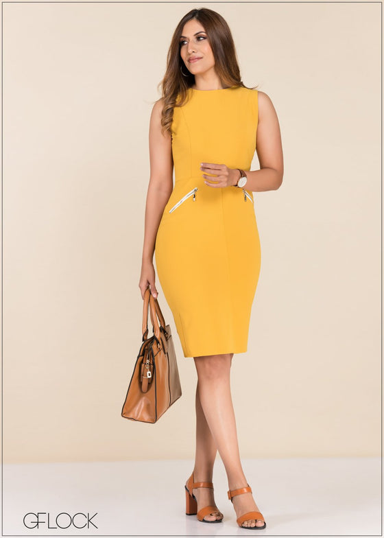 GFLOCK - [product_sku] - Women_Dresses - Zipper Detailed Workwear Dress