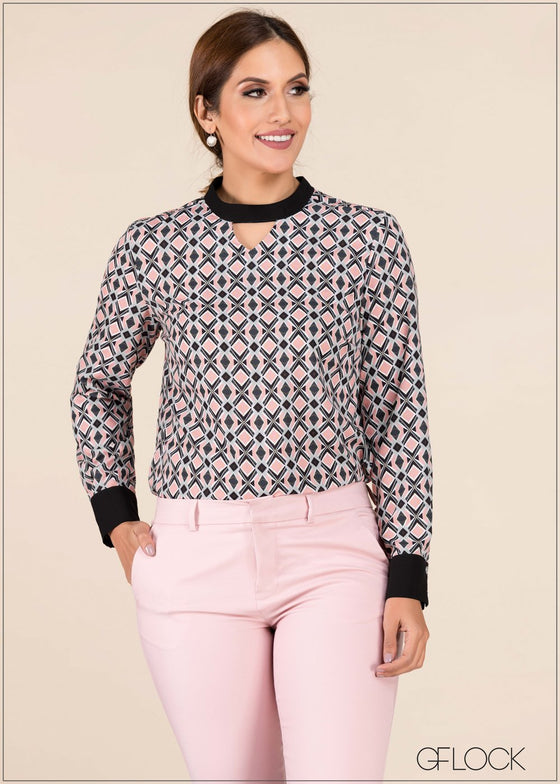 Contrast Collar And Cuff Shirt