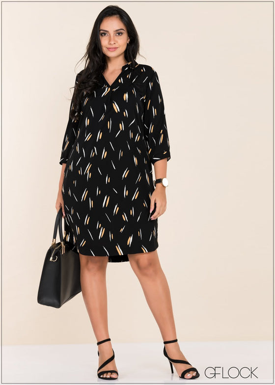 Brushstroke Printed Dress