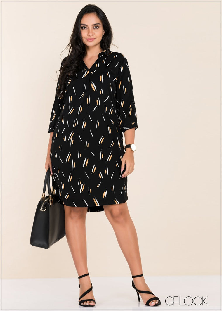 GFLOCK - [product_sku] - Women_Dresses - Brushstroke Printed Dress