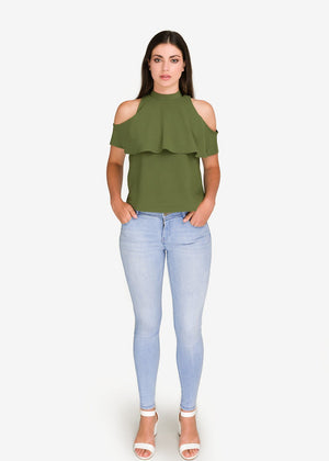GFLOCK - [product_sku] - Women_Top - High Neck Frill Detail Top