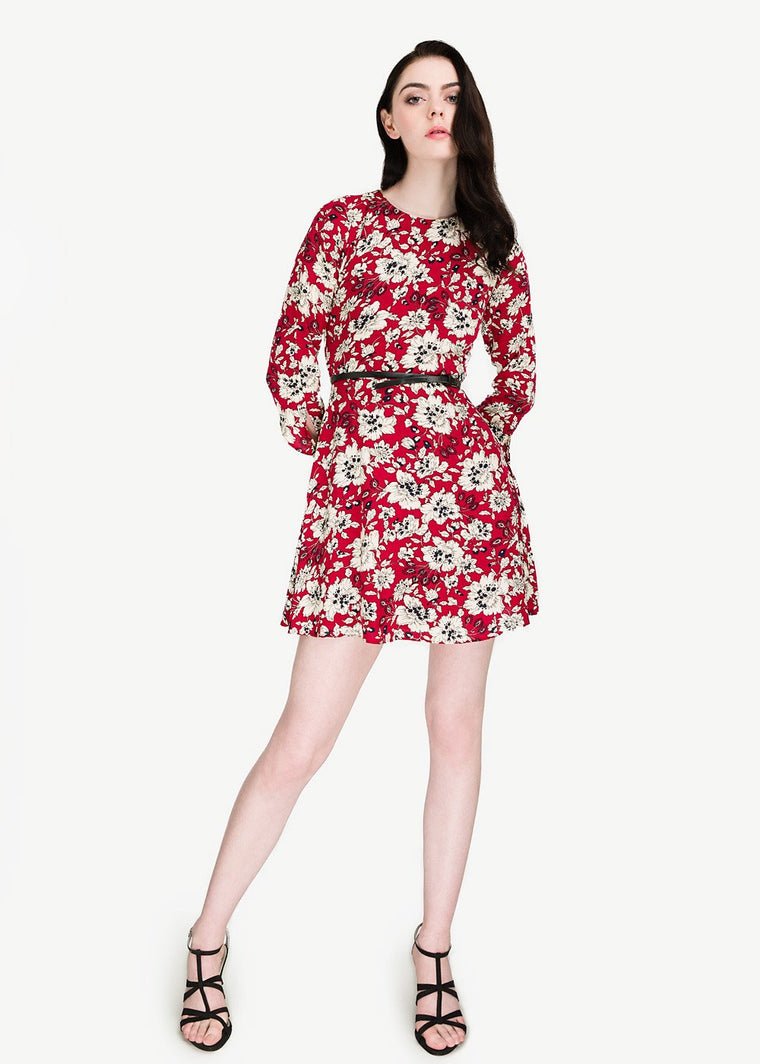 Floral Sleeve Tie Up Dress