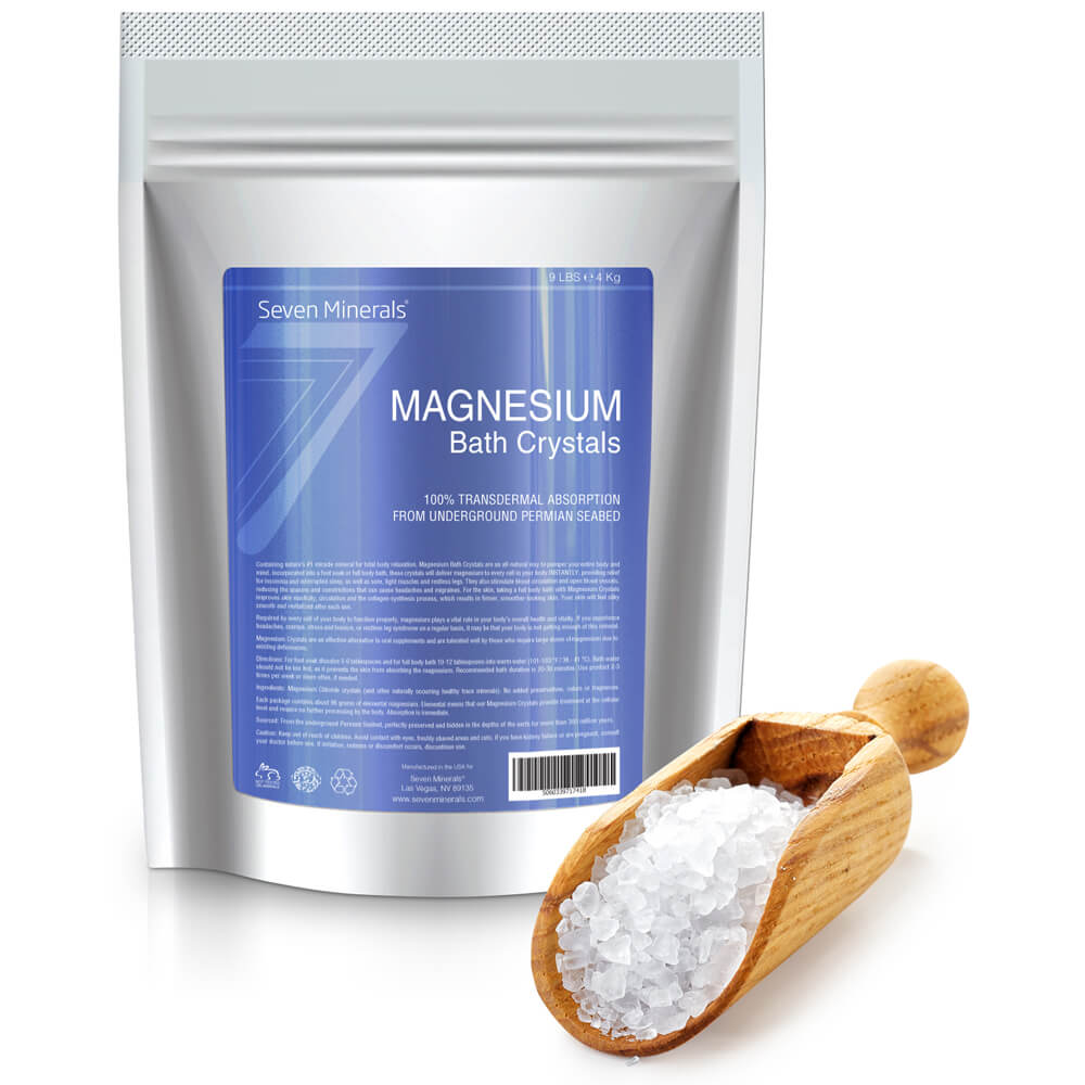 100% Pure Magnesium Chloride Bath Crystals, 9lbs