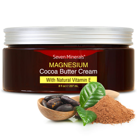NEW Magnesium Cream with Organic Cocoa Butter and Natural Vitamin E, 8oz