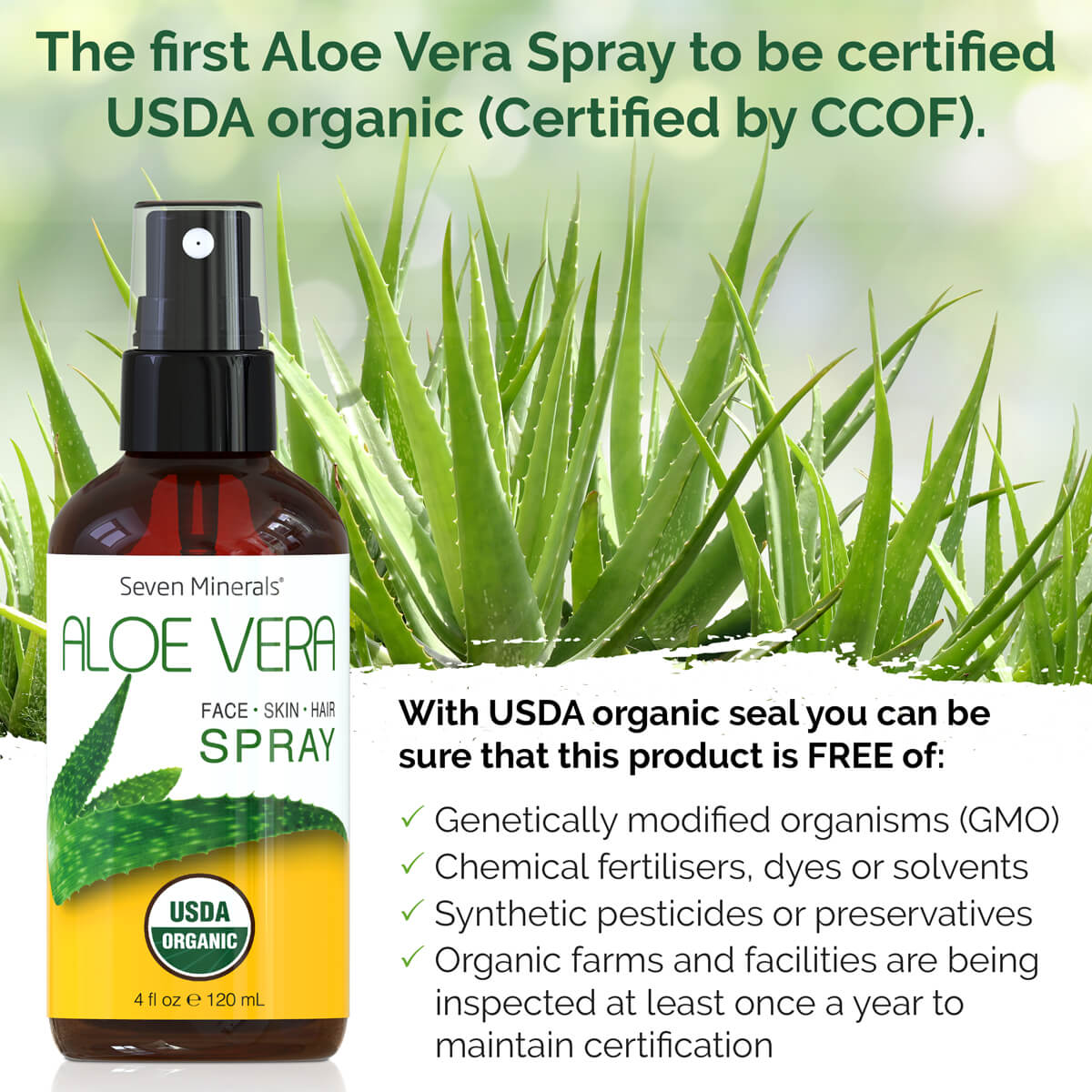 #1 USDA Organic Aloe Vera Spray by Seven Minerals 4oz (Shipping Within USA only)