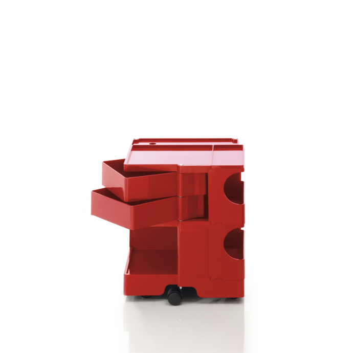 The Boby Trolley Small with 2 drawers, seen here In the colour red. Available exclusively at Bob and Friends.