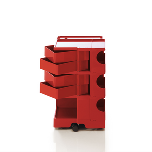 The Boby Trolley Medium with 4 drawers, seen here In the colour red. Available exclusively at Bob and Friends.