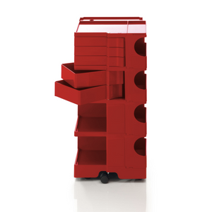The Boby Trolley Large with 6 drawers, seen here In the colour Red. Available exclusively at Bob and Friends.