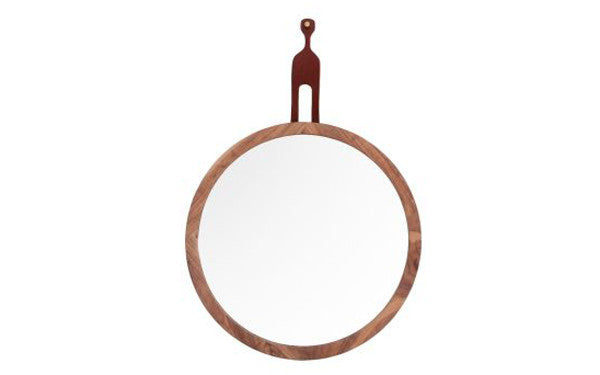 Round Walnut Mirror / Leather- 3 Sizes