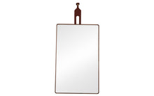 Rectangle Walnut Mirror / Leather