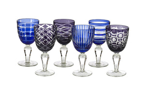Wine glass set blue and purple