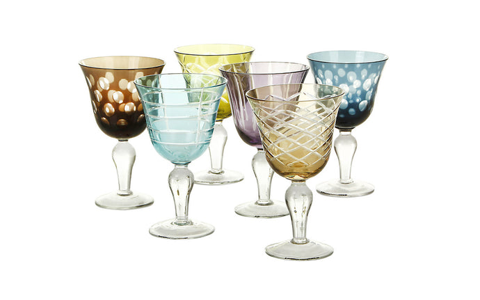 Wine glass set mixed colours