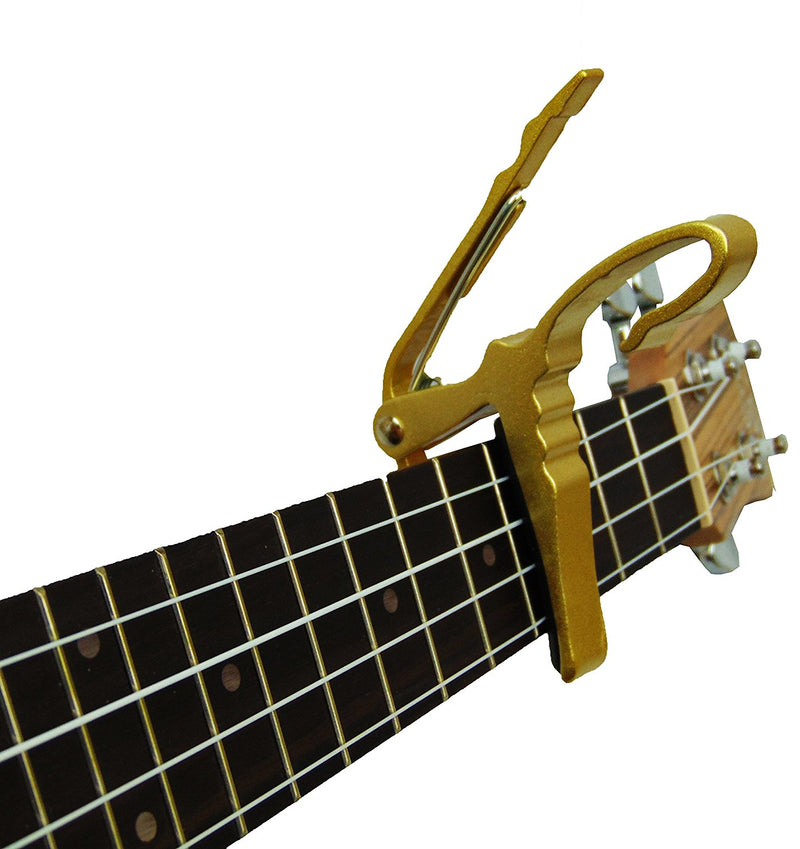 Professional Series Ukulele Capo, will fit on Soprano, Tenor and Concert GOLD
