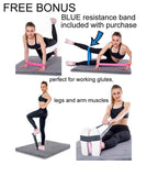 Blue Yoga Knee Pad with Bonus Resistance Strap