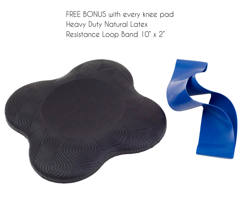 Black Yoga Knee Pad with Bonus Resistance Strap