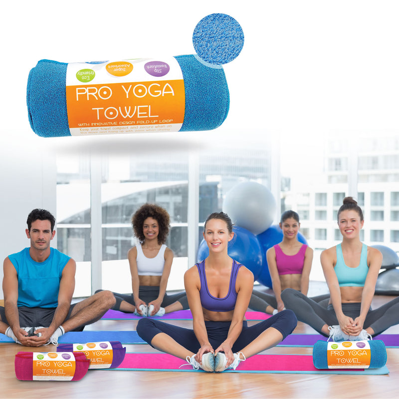 Limber Stretch Premium  Hot Yoga Mat Towel Azure Blue