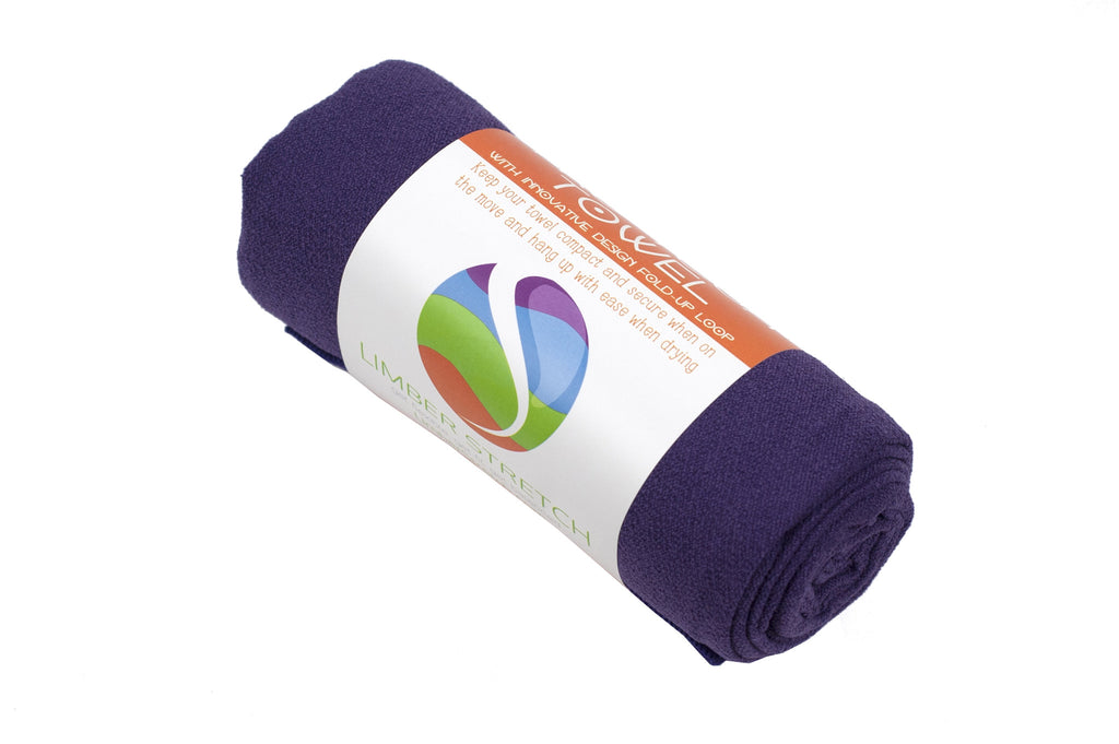 Limber Stretch Premium  Hot Yoga Mat Towel Grape Purple