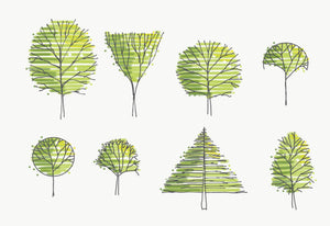 Hand Drawn Tree Elevations - Set 7