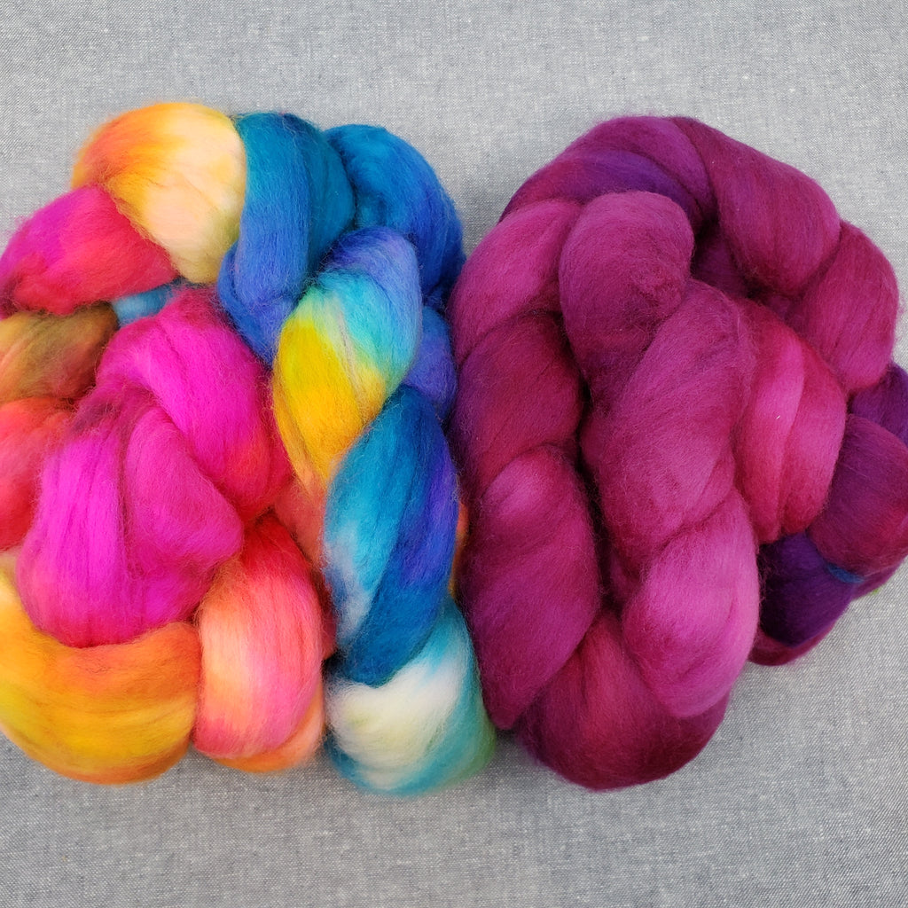Ply Pack Spinning Fiber - Raspberry + Skydancer