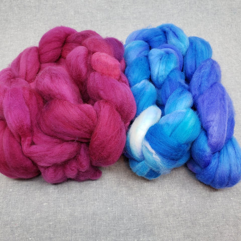 Ply Pack Spinning Fiber - Raspberry and Blue Lagoon