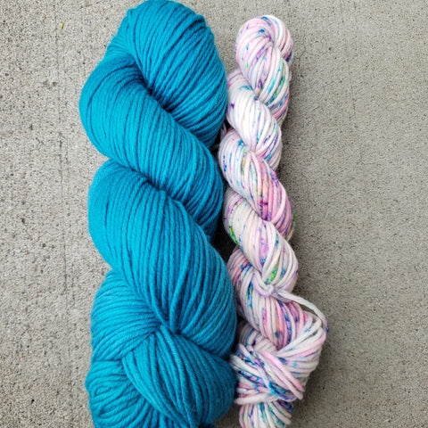 Sale! Knit Fast, Heel Later Sock Set Aqua and Speckles