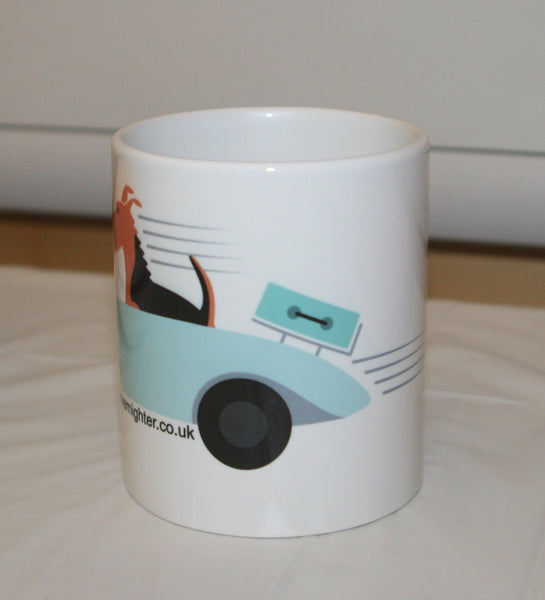 Rear of the mug featuring Bronwyn the dog in a convertable car