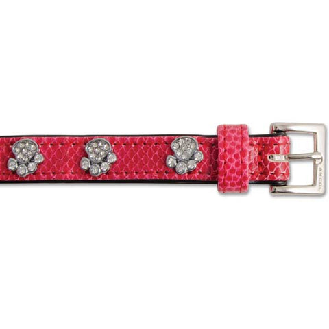 Red leather dog collar decorated with diamante paws
