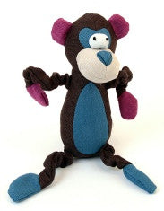 Animate Monkey Dark Canvas Squeaky Toy, Brown
