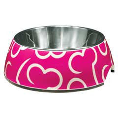 2 in 1 dog bowl, stainless steel inner, pink melamine outer