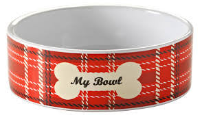 Stoneware dog bowl, white inner with red tartan pattern to the outside and a bone design