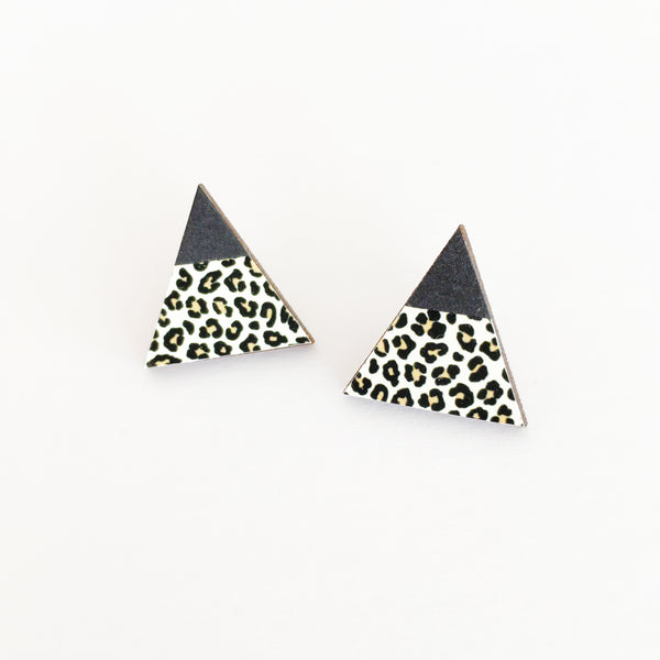 Leopard Print and Black Wood Earrings