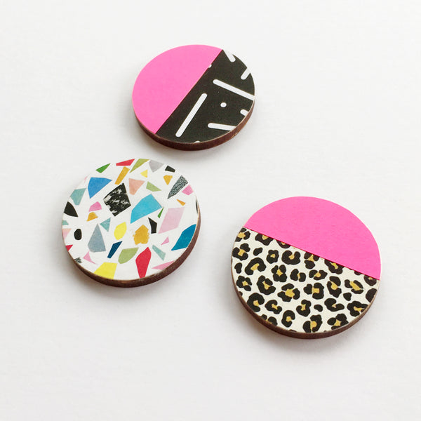 Black and White Terrazzo Wood Round Brooch
